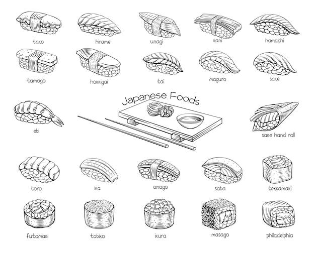 Ensemble De Contour De Rouleaux De Sushi. Nourriture Japonaise Pour Le Menu Du Bar, La Bannière, Le Dépliant, La Carte, Etc. Vecteur Premium