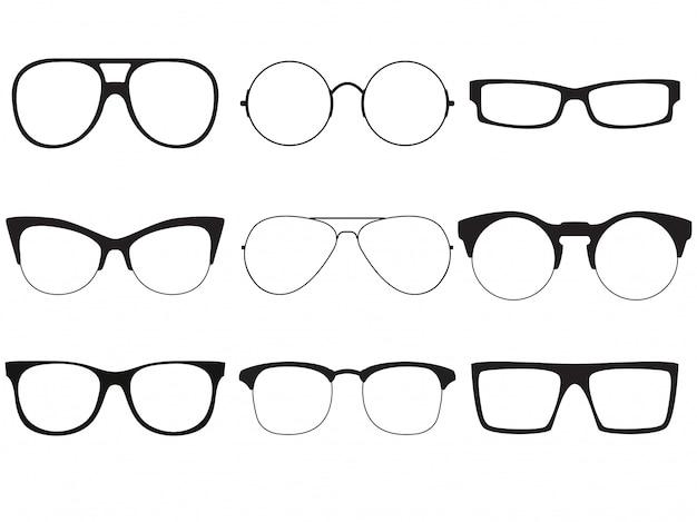 Ensemble de contours de vecteur de lunettes de soleil. Vecteur Premium