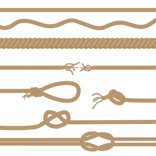Ensemble de cordes et de noeuds réalistes Vecteur Premium