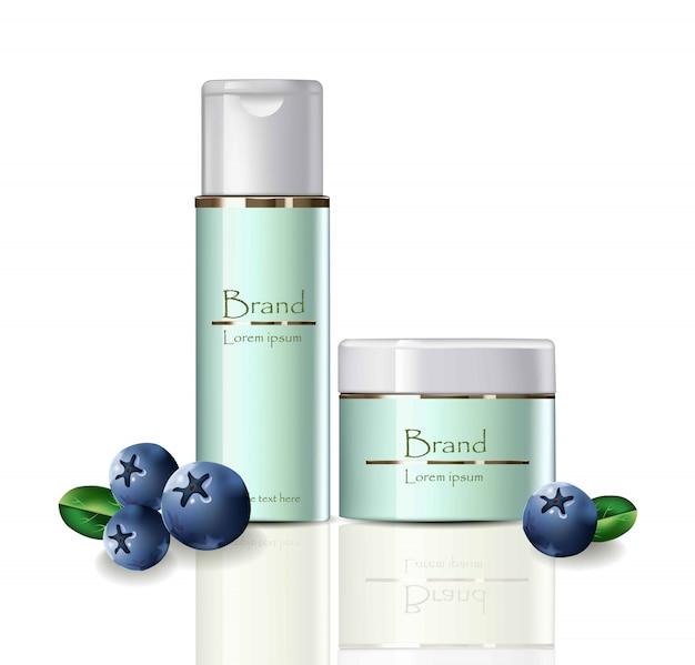 Ensemble de cosmétiques crème et crème de nettoyage Vecteur Premium