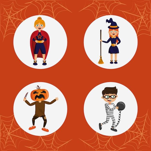 Ensemble de costumes d'halloween pour enfants Vecteur Premium