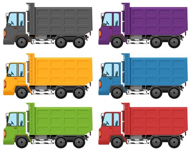 Ensemble de couleur de camion différente Vecteur gratuit