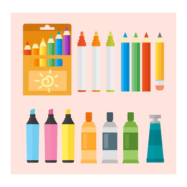 Ensemble De Couleurs Et De Crayons De Couleur Vecteur Premium