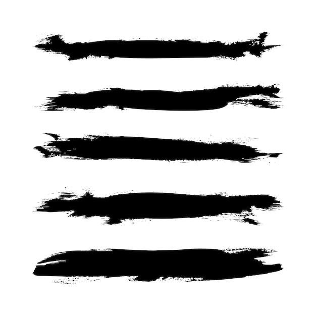 Ensemble De Coup De Pinceau Illustrateur Grunge. Pinceaux Faits à La Main Vecteur Premium