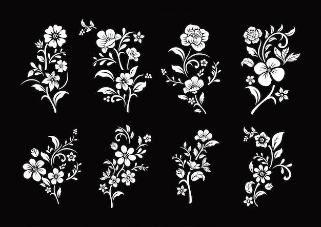 Ensemble De Coupe De Fleurs Noir Et Blanc Vecteur Premium