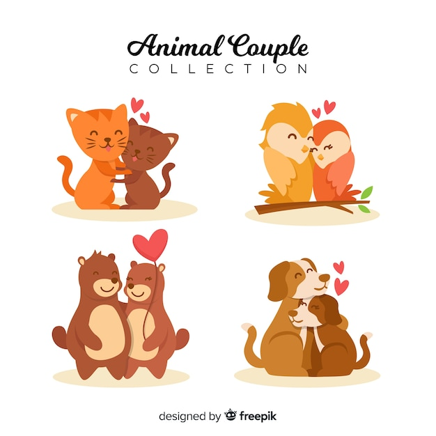 Ensemble de couple animal valentine dessinés à la main Vecteur gratuit