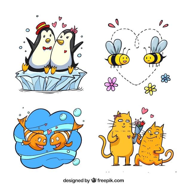 Ensemble de couple animaux valentine Vecteur gratuit