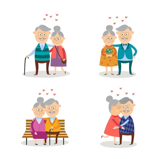 Ensemble De Couples De Personnes âgées Amoureux Vecteur Premium