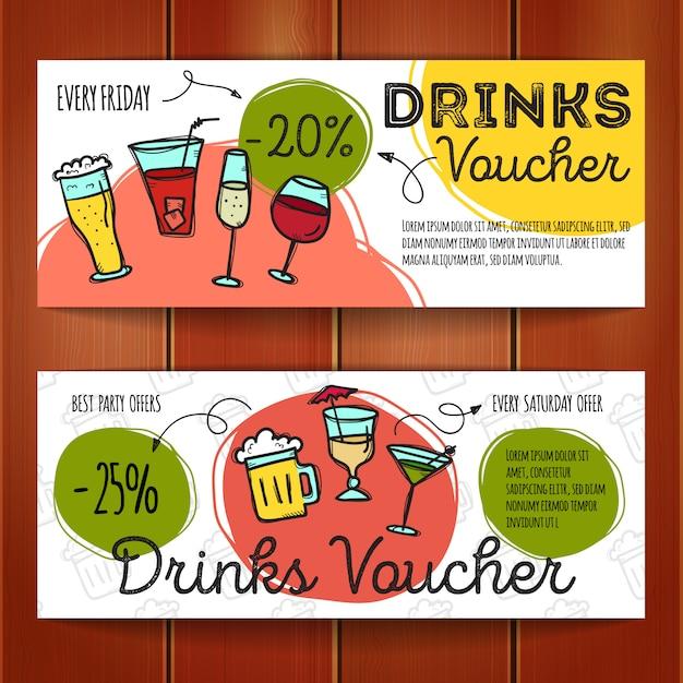 Ensemble de coupons de réduction pour les boissons Vecteur Premium