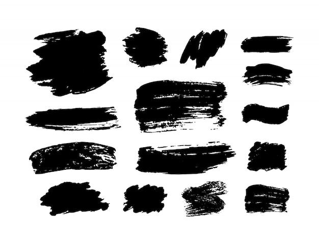 Ensemble De Coups De Pinceau. éléments De Conception Grunge. Peinture Dorée, Encre, Pinceaux, Lignes, Grungy. Boîtes Artistiques Sales, Cadres. Lignes D'or Isolées. Illustration D'art Texturé Abstrait Or Scintillant. Vecteur Premium
