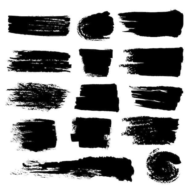 Ensemble De Coups De Pinceau Noir Grunge Vecteur Premium