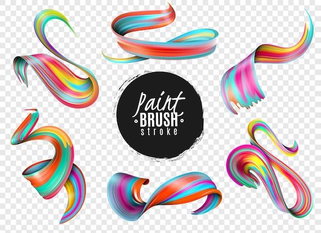 Ensemble De Coups De Pinceau De Peinture Colorée Réaliste Isolé Sur Transparent Vecteur gratuit