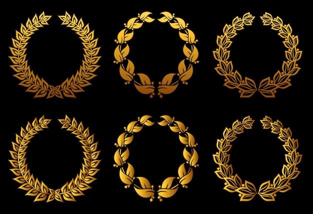Ensemble de couronnes de laurier pour la conception d'insigne ou d'étiquette Vecteur Premium
