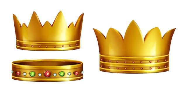 Ensemble de couronnes royales en or décorées de pierres précieuses Vecteur gratuit