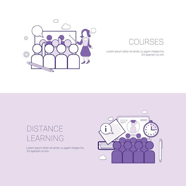 Ensemble de cours et modèle de concept d'affaires de bannières d'apprentissage à distance Vecteur Premium