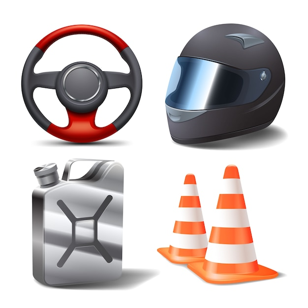 Ensemble De Course Automobile Vecteur gratuit