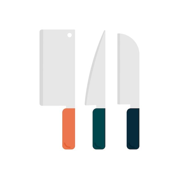 Ensemble de couteaux ustensiles de cuisine graphique Vecteur gratuit