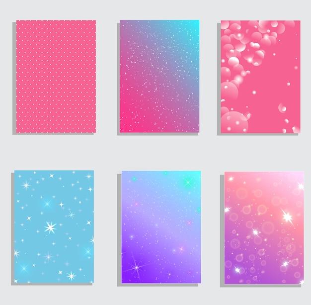 Ensemble De Couvertures Abstraites Modernes. Composition De Formes De Dégradé Cool. Design Futuriste. Vecteur Premium