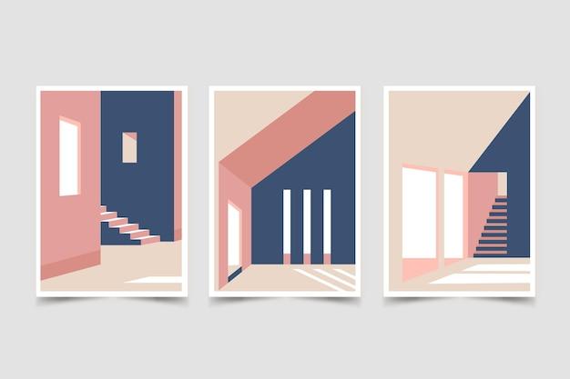 Ensemble De Couvertures D'architecture Minimale Vecteur Premium