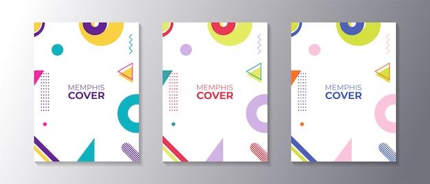 Ensemble De Couvertures Design Memphis Avec Une Forme Géométrique Cool Vecteur Premium
