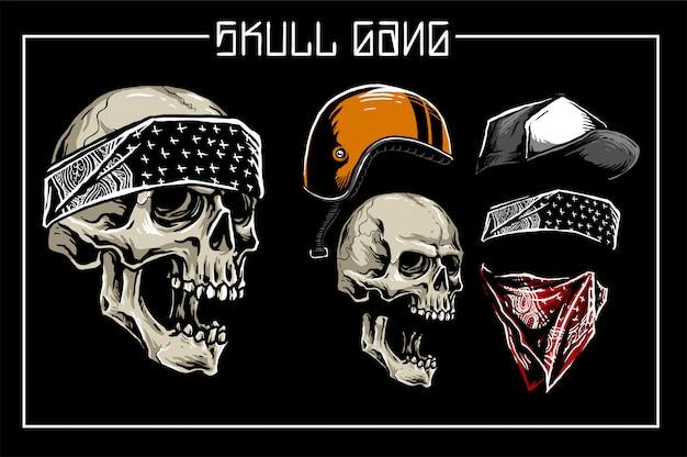 Ensemble de crâne Vecteur Premium