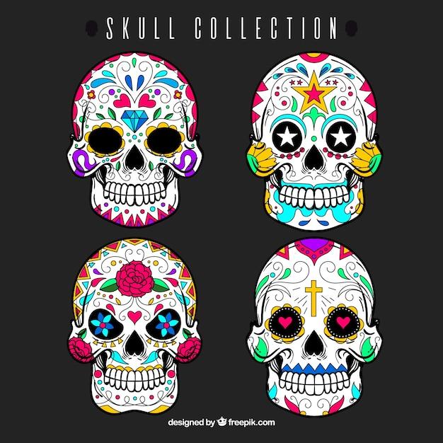 Ensemble de crânes décoratifs mexicains Vecteur gratuit