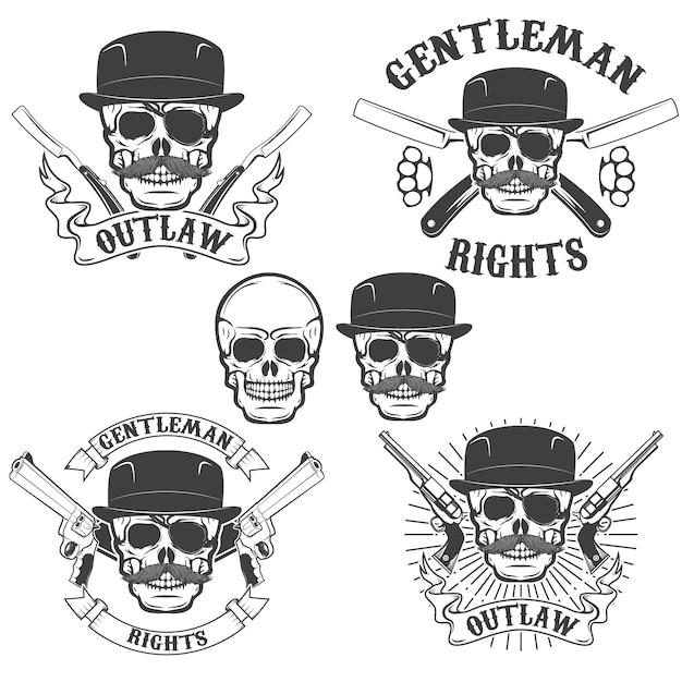 Ensemble de crânes de gangsta isolé sur fond blanc Vecteur Premium