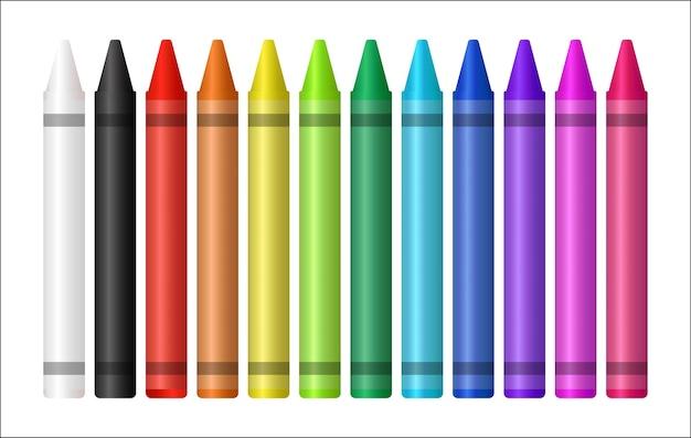 Ensemble d'un crayon de couleur sur fond blanc Vecteur Premium