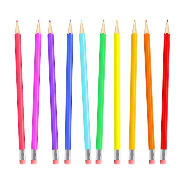 Ensemble De Crayons Colorés Et Réalistes Vecteur Premium
