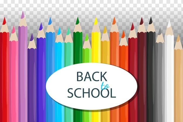 Ensemble De Crayons Colorés Scolaires Réalistes Vecteur Premium
