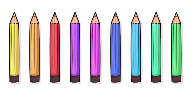 Ensemble De Crayons De Couleur Mignons Vecteur Premium