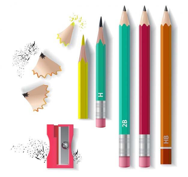 Ensemble de crayons en graphite, aiguiseur et copeaux à aiguiser. pour les bannières, affiches Vecteur gratuit