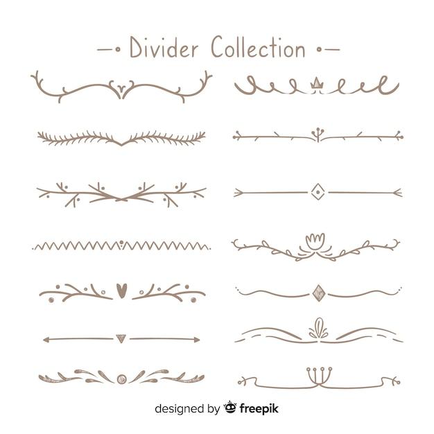 Ensemble créatif de diviseurs d'ornement dessinés à la main Vecteur gratuit