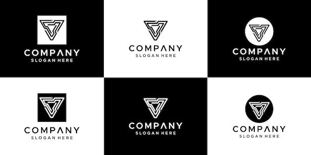 Ensemble De Création De Logo Abstrait Lettre V. Vecteur Premium