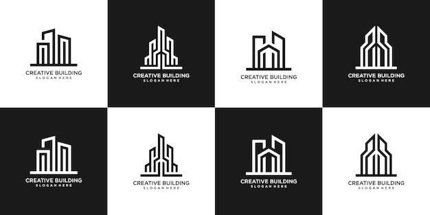Ensemble De Création De Logo Immobilier Bâtiments Vecteur Premium