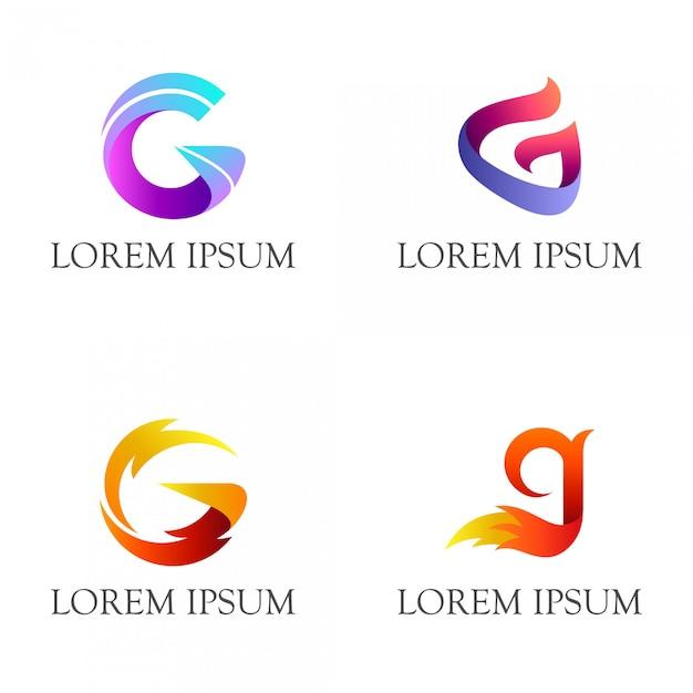 Ensemble de création de logo lettre g initiale Vecteur Premium