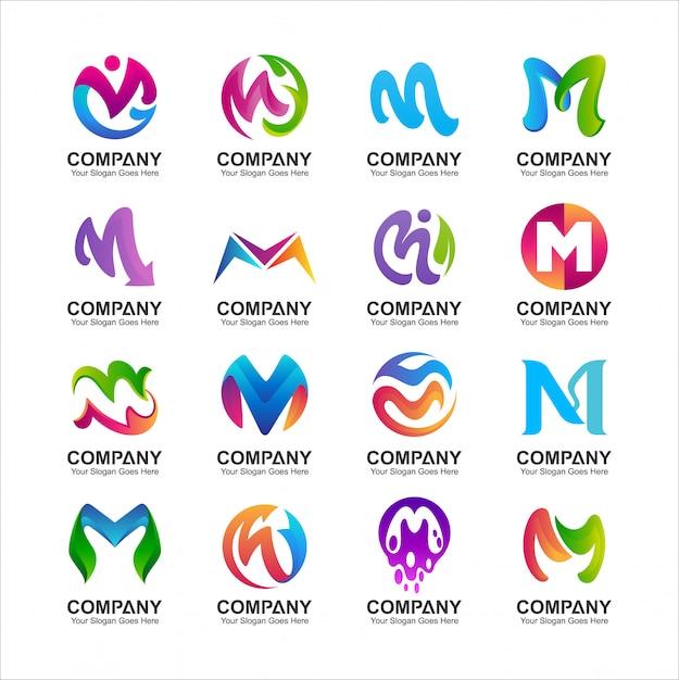 Ensemble de création de logo lettre m Vecteur Premium