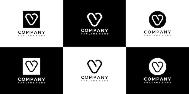 Ensemble De Création De Logo Monogramme Lettre V. Vecteur Premium
