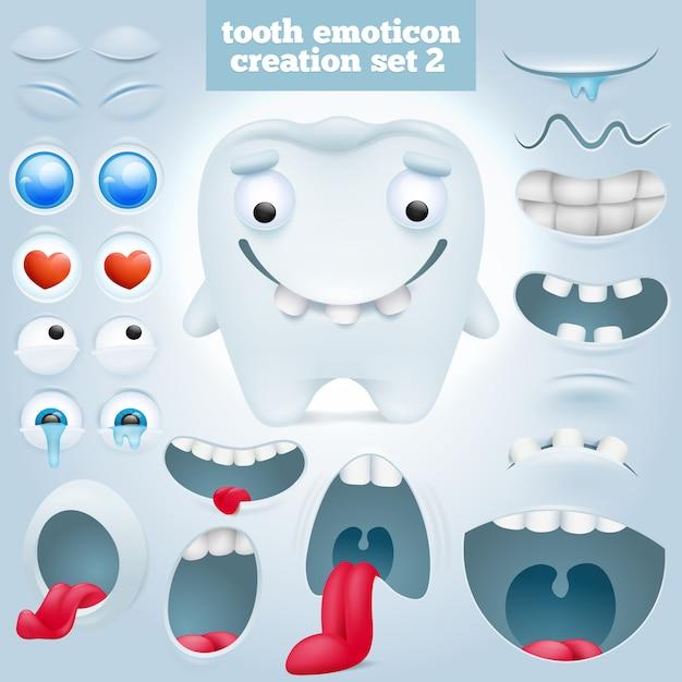 Ensemble de création de personnage émoticône dent de dessin animé. Vecteur Premium