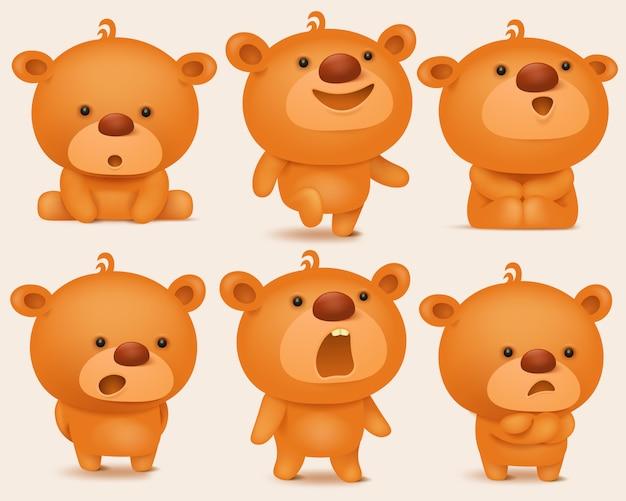 Ensemble de création de personnages ours en peluche avec différentes émotions. Vecteur Premium