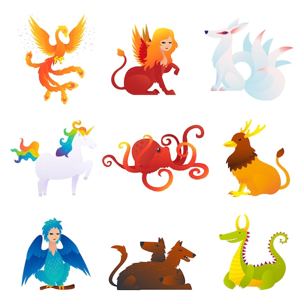 Ensemble De Créatures Mythiques Et Fantastiques Vecteur gratuit