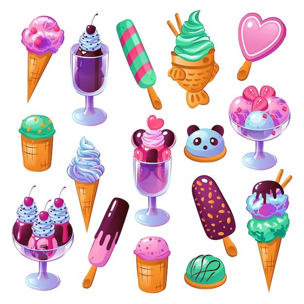 Ensemble De Crème Glacée Vecteur gratuit