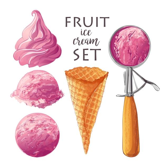 Ensemble de crèmes glacées de vecteur Vecteur Premium