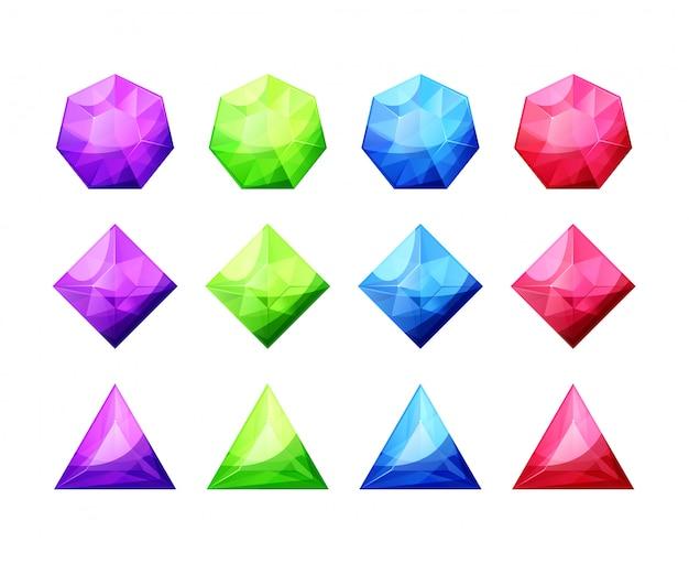 Ensemble de cristaux de différentes formes, de pierres précieuses et de diamants. icônes détaillées de gemmes colorées Vecteur Premium