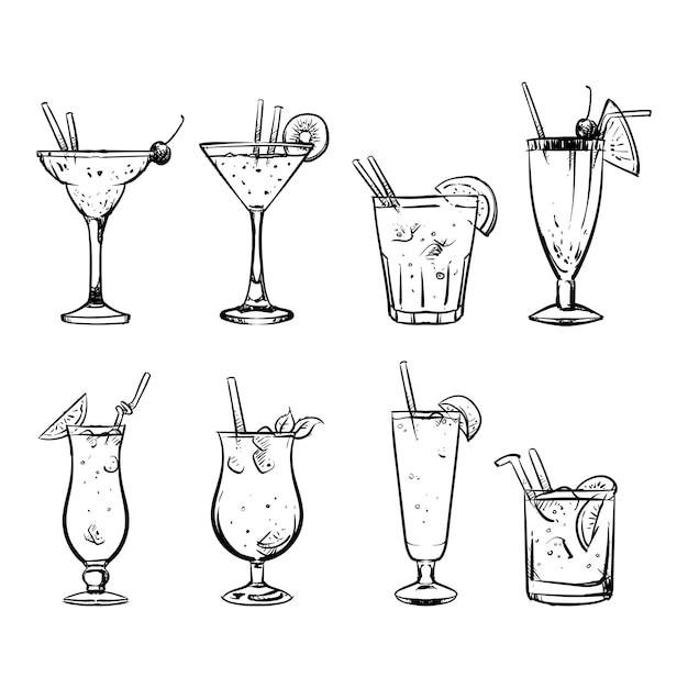 Ensemble de croquis de croquis et dessin à la main de l'alcool Vecteur Premium