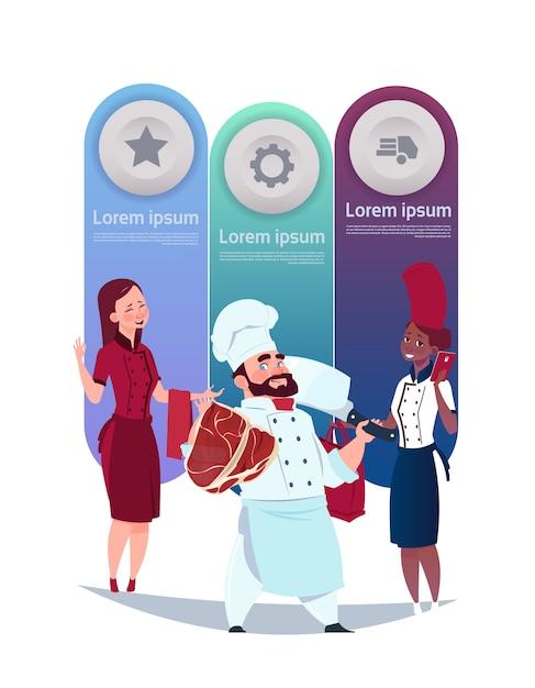 Ensemble de cuisine fond modèle éléments infographiques avec chef et serveuse Vecteur Premium