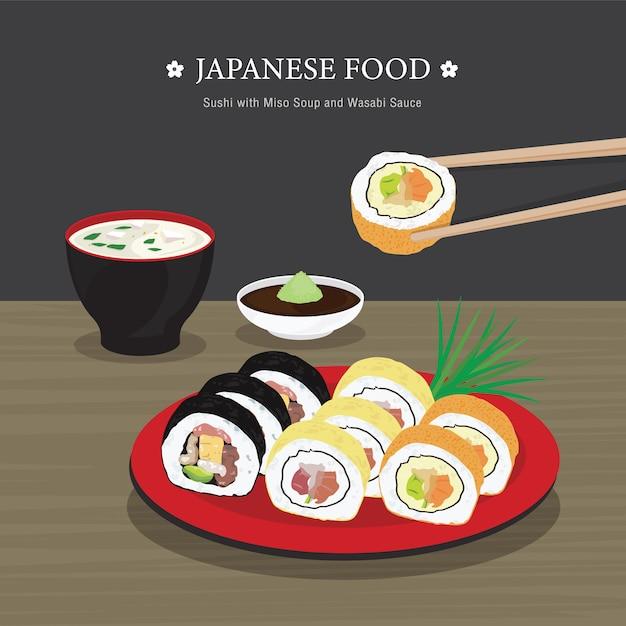 Ensemble De Cuisine Japonaise Traditionnelle, Sushi Roll Avec Soupe Miso Et Sauce Wasabi. Illustration De Dessin Animé Vecteur Premium