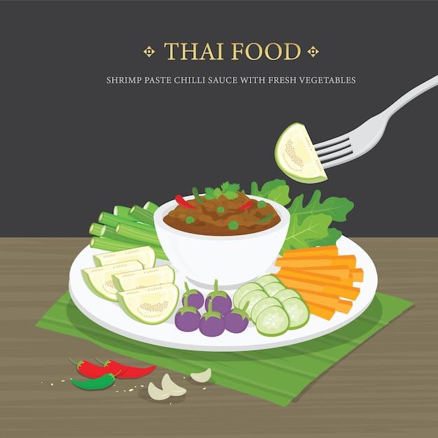 Ensemble De Cuisine Thaïlandaise Traditionnelle, Sauce Chili à La Pâte De Crevettes (nam Prik Ka Pi) Avec Des Légumes Frais. Illustration De Dessin Animé. Vecteur Premium