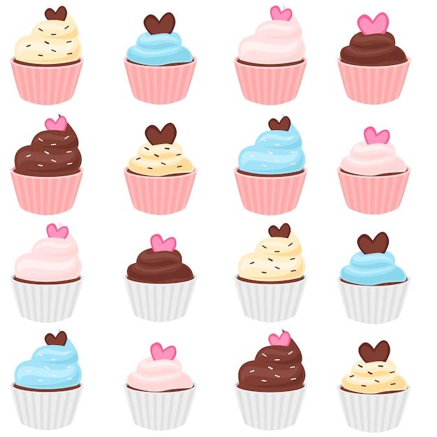 Ensemble de cupcakes Vecteur Premium