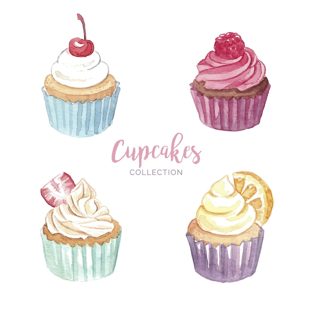 Ensemble de cupcakes Vecteur gratuit